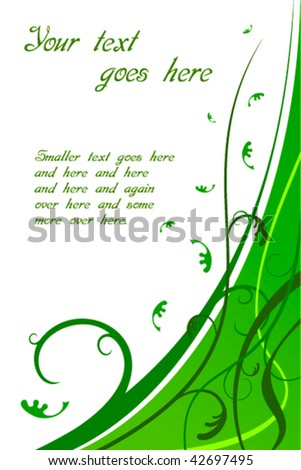 Floral Green Card Vector. Also available in Raster