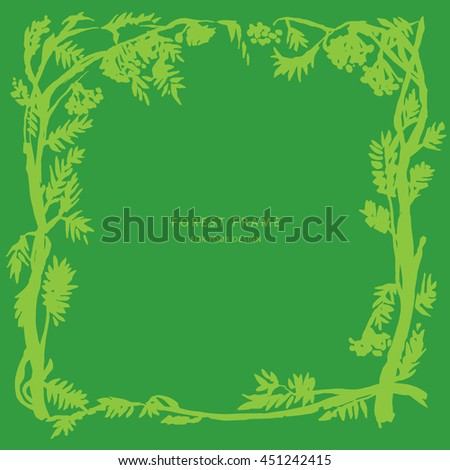Floral green greeting card background with branches, plants, forest. Nature frame. Trendy design template for wedding,congratulations, events, invitations for all holidays. Vector illustration.