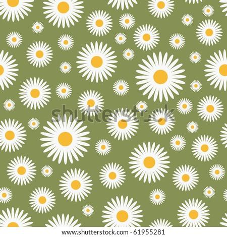 floral green pattern - seamless, vector illustration - stock vector