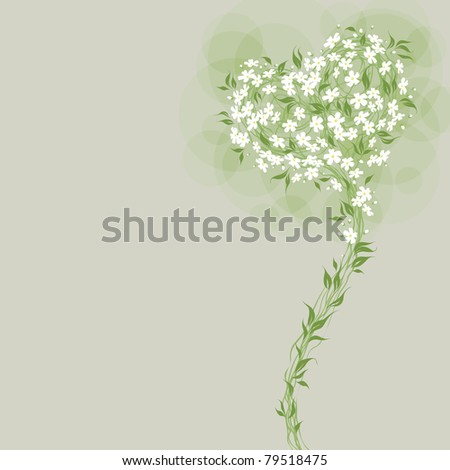 Floral greeting card with heart shaped bouquet. Little white flowers. - stock vector