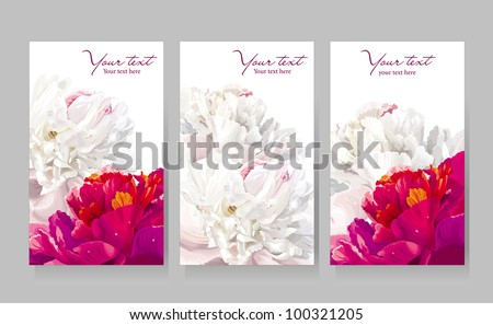 Floral greeting cards with red and white peony flowers - stock vector