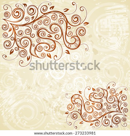 Floral grunge background illustration. - stock vector