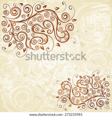 Floral grunge background illustration. - stock vector