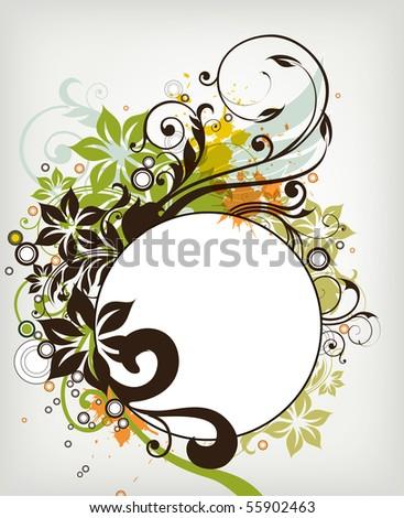 floral grunge frame background vector illustration - stock vector