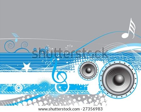 floral grunge music wale line background - stock vector