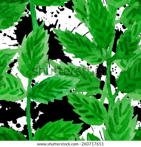 Floral grunge seamless pattern. Spring branches and leaves with blots background. Vector watercolor illustration - stock vector