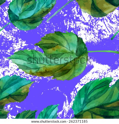 Floral grunge seamless pattern. Spring leaves with blots background. Vector watercolor illustration - stock vector