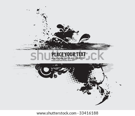 floral grunge vector composition with halftone urban background - stock vector