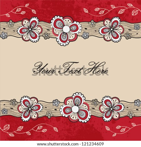 Floral hand drawn background. Template design for card. - stock vector