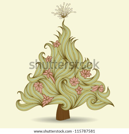 Floral hand drawn Christmas Card, EPS10 Vector background - stock vector