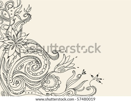 Floral hand drawn vector card - stock vector