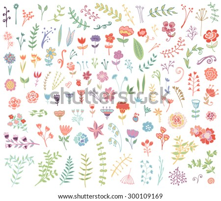 Floral hand drawn vintage set. Vector flowers and leaves collection. Sketch art illustration. - stock vector