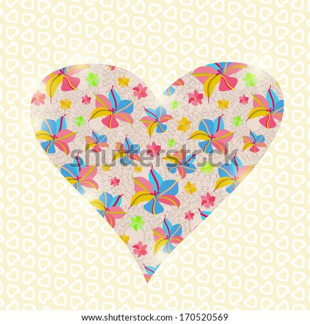 Floral Heart Invitation Valentine Day Card. Vector Illustration - stock vector
