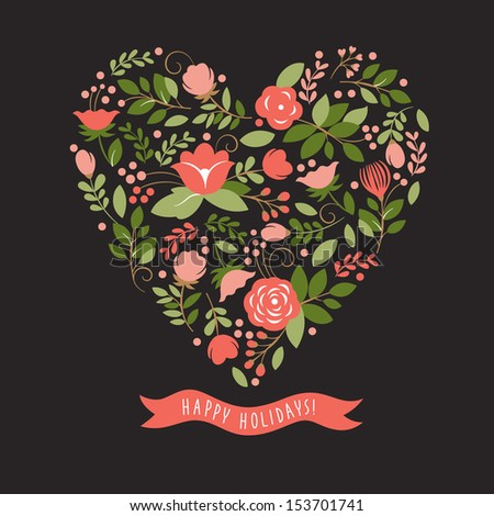 Floral heart on a dark background - stock vector