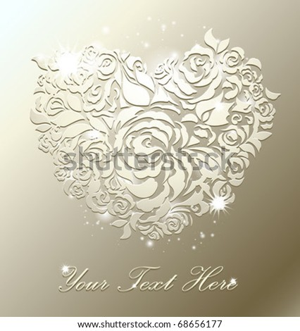 Floral heart on pearl background with a space for text