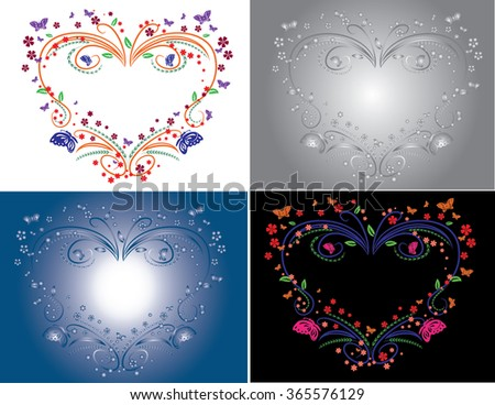 floral heart set isolated illustration - stock vector