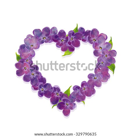 Floral heart with lilac flowers. Elegant decoration. Useful for valentine day card, invitation, congratulation, greeting card. Watercolor imitation. Vector, EPS 10 - stock vector