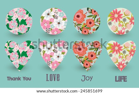 Floral Hearts card - stock vector
