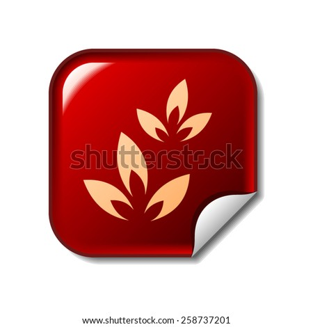 Floral icon on red sticker - stock vector