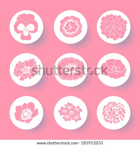 Floral icon set. Vector hand drawn illustration. - stock vector