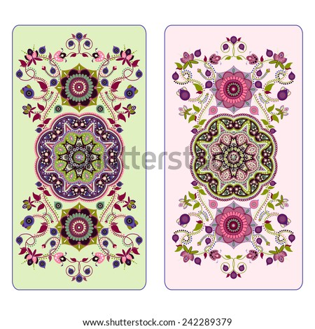Floral illustration with decorative elements. Design for Tarot, card, invitation - stock vector