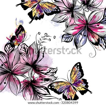 Floral illustration with vector flowers and butterflies in watercolor colorful spots. Watercolor style paintings - stock vector