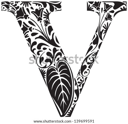Floral initial capital letter V - stock vector