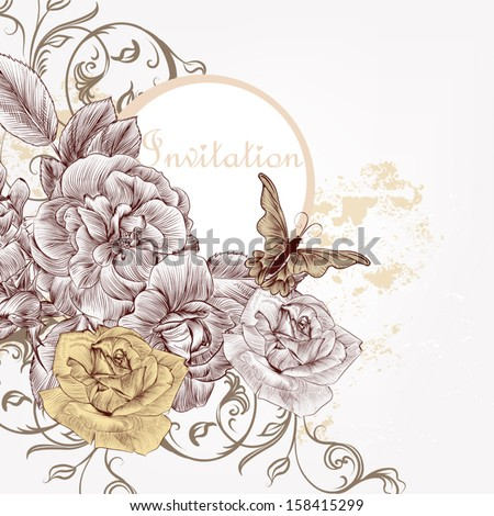 Floral invitation background with roses for design - stock vector