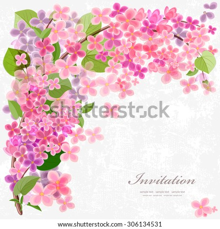 Floral invitation card with blossom lilac. With love for your design. - stock vector