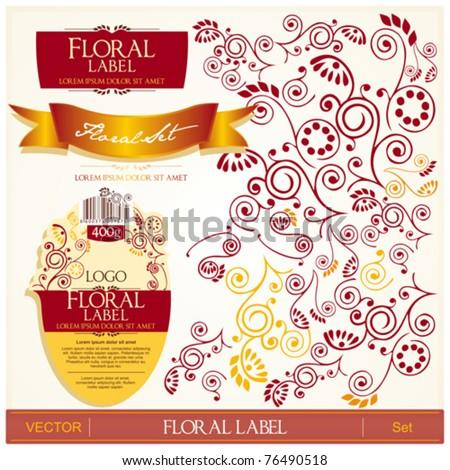Floral label design set - stock vector