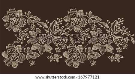 Floral lace vector pattern - stock vector