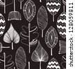 Floral linear seamless decorative pattern. Scribble background with leafs. Black and white contour fabric texture. Hand drawn template for design - stock vector