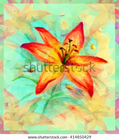 Floral Low Poly Pattern, Bouquet with Lily Flower. Vector - stock vector