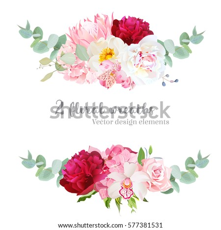 Floral Vector Round Frame Pink Rose Stock Vector 561742087