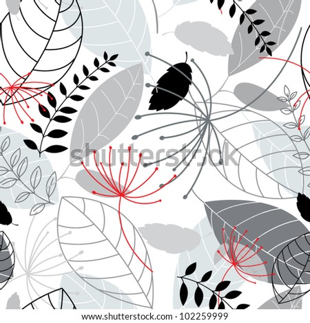 Floral monochrome seamless - stock vector