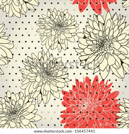 Floral monochrome wallpaper with red emphasis - stock vector