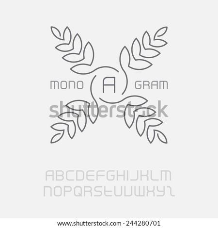 Floral monogram, simple and graceful design template. Elegant lineart logo design, including the full original font. Vector logotype. - stock vector