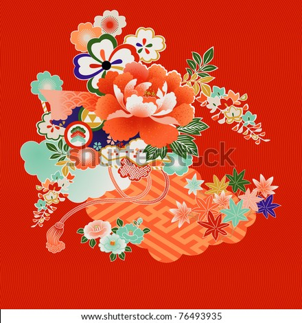 Floral montage from vintage Japanese kimono designs. See a similar NEW file: SS #77368525 - stock vector