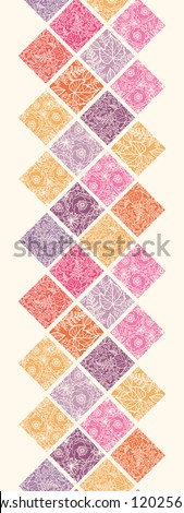 Floral mosaic tiles vertical seamless pattern border - stock vector