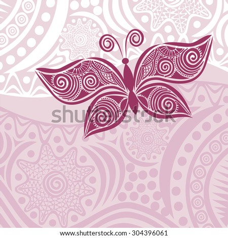 Floral nature patten card with beautiful butterfly vector illustration - stock vector