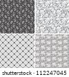 floral net lace set, seamless pattern - stock photo
