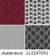 floral net lace set, seamless pattern - stock vector
