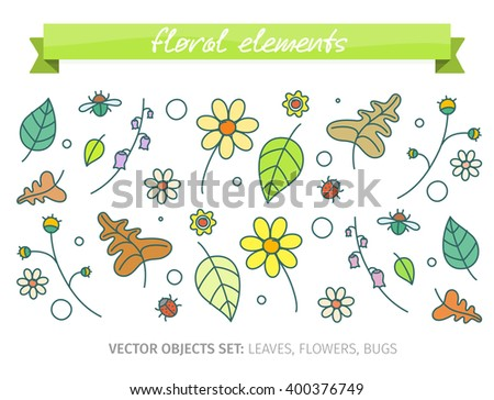 Floral objects set with flowers, leaves and bugs. Vector illustration in doodle style.