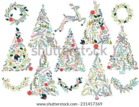 Floral or Botanical Christmas Trees, Wreaths, Bunting and Reindeer - stock vector