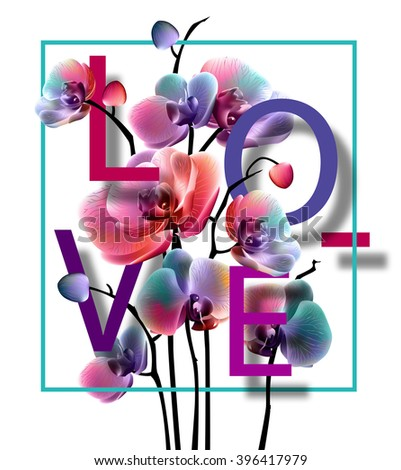 Floral orchids background  with love. Vector illustration, EPS10. - stock vector