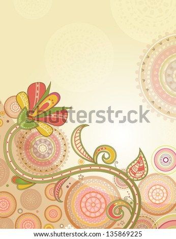 Floral Oriental Background. Vector Illustration - stock vector