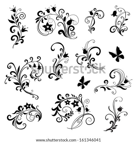floral ornament elements collection isolated on white  - stock vector