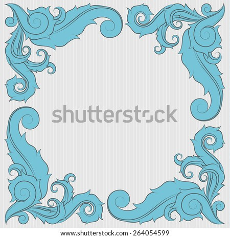 Floral ornament frame in blue with copy space on the center. - stock vector