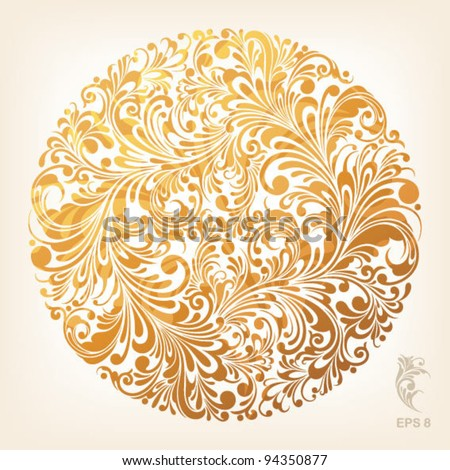 floral ornament in circle, vector illustration - stock vector