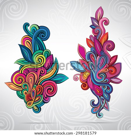 Floral ornament in colors - stock vector
